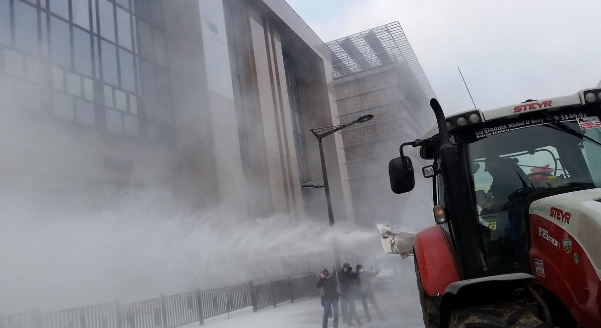 'Why are they protesting?': EU leaders ask why farmers sprayed milk powder over their buildings