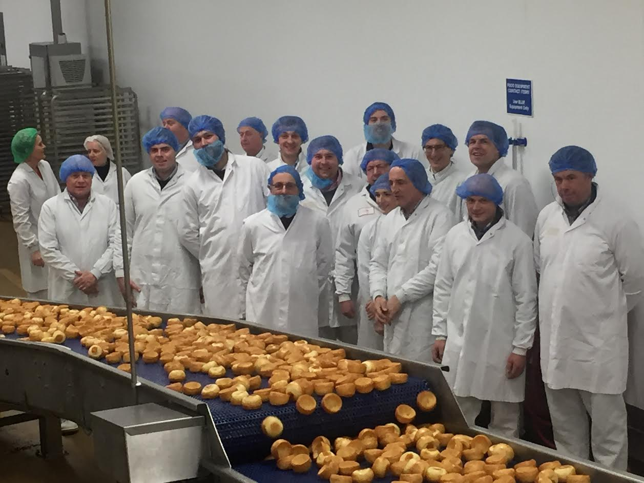 Farmers visit Aunt Bessie's factory in Hull to learn how their wheat is turned into a Yorkshire Pudding