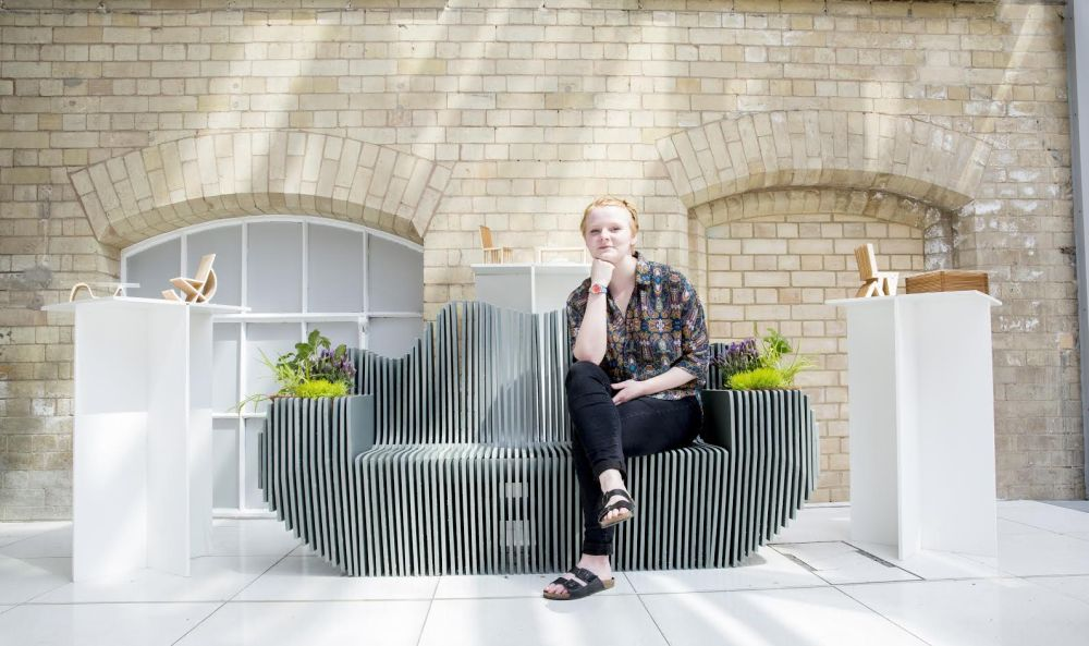Recycled farm plastic used to create bench in the shape of the River Trent