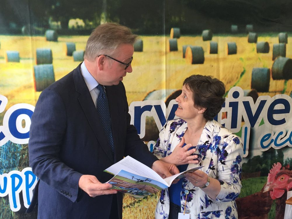 The new environment secretary Michael Gove and Anthea McIntyre MEP at the Three Counties Show