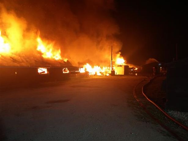 Cheshire firefighters tackle huge turkey farm blaze thought to be arson