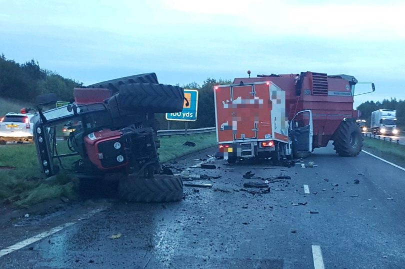 Tractor and combine harvester involved in crash highlights road safety