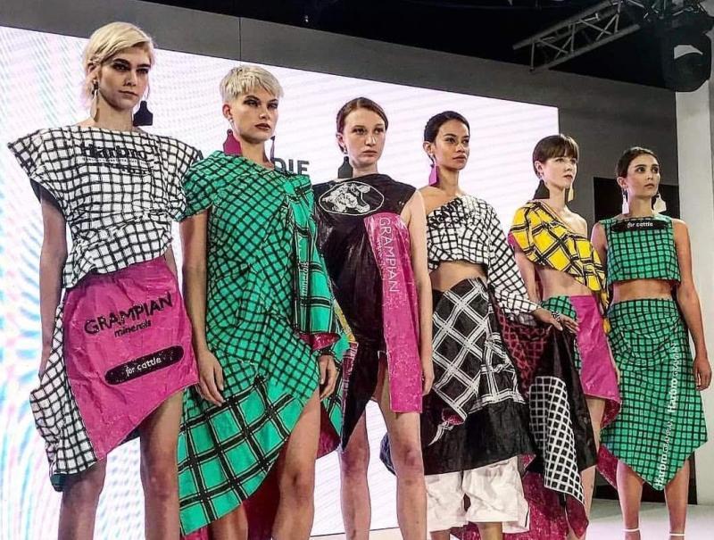 Fashion designer creates clothes inspired from farm feedbags
