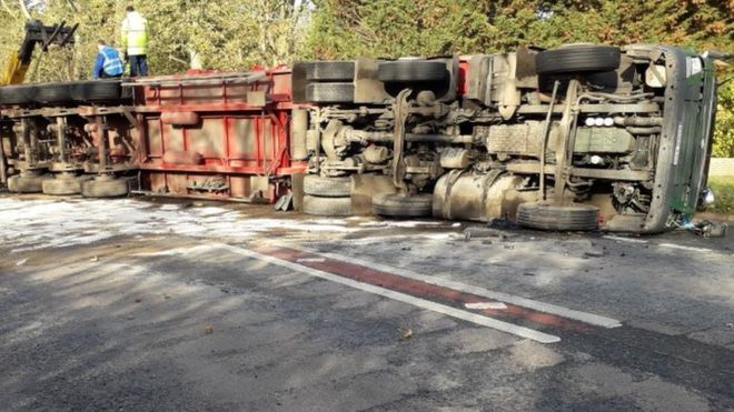 Lorry carrying hundreds of turkeys overturns in Norfolk