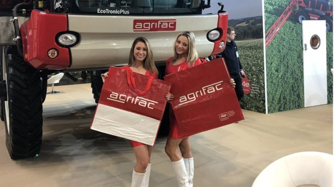 Critics said the use of female models at the show does not encourage women in the farming industry (Photo: Agrifac)