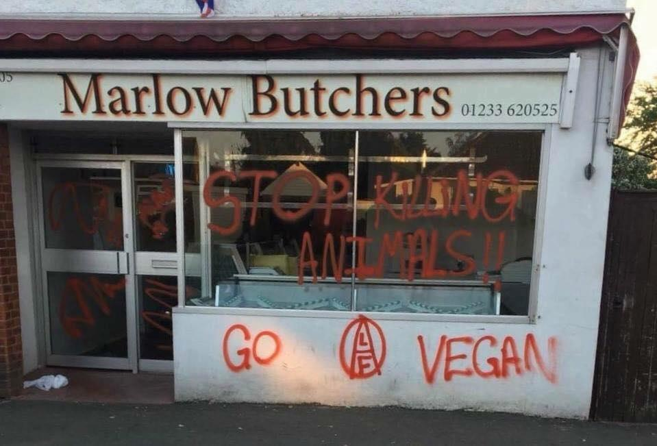 Farmers have concerns activism is becoming more sinister (Photo: vegan activists defaced a butcher last year)
