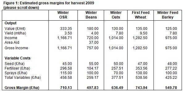 Oilseed rape makes a bold move up the gross margin league for Table th margin