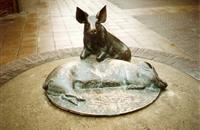Statue commemorating small Wiltshire town's pork industry re-installed