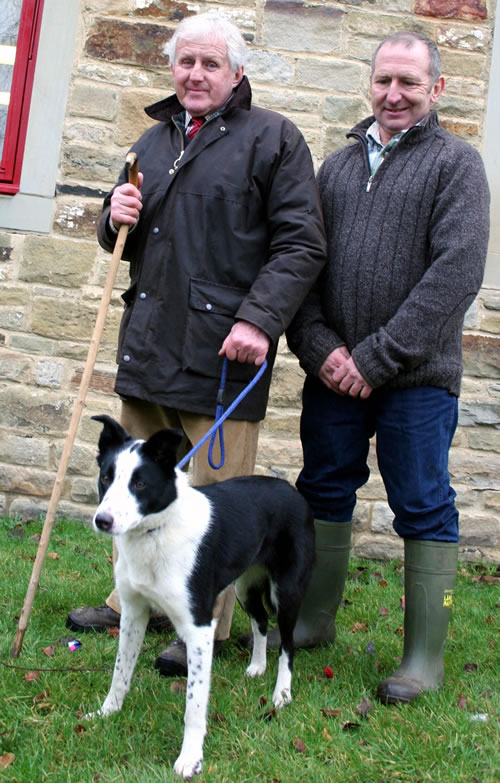 John Bell, left, with his 6,000gns world record price working sheep dog Dewi Fan, joined by Welsh breeder David Streeter.