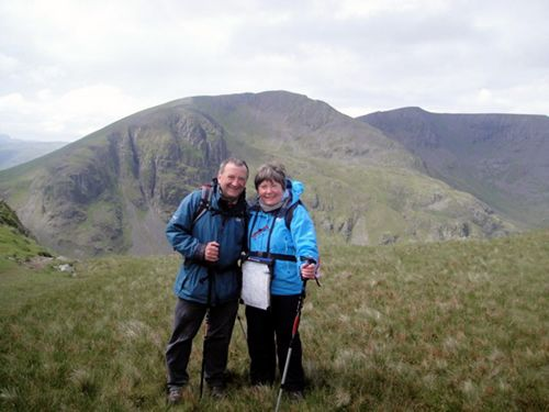 2012 Yorkshire Big Breakfast hosts Lovesome Hill Farm's John and Mary Pearson are pictured in the Lake District on St. Sunday Crag, with Striding Edge as the backdrop