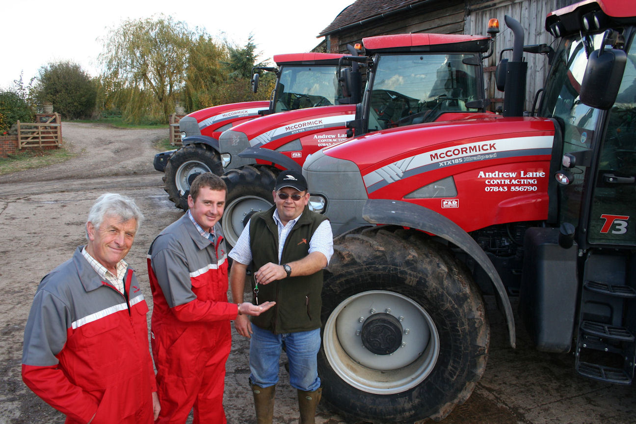 Recent customers include farmers and contractors Andrew (centre) and Roger Lane of Chaceley Hall Farm near Tewkesbury who received the keys to three McCormick six-cylinder tractors from Anthony Wilkes of P&D Engineering.