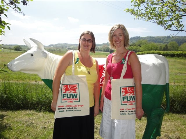 COTTON BAGS CAMPAIGN: FUW Aberystwyth head office staff Angharad Evans (left) and Nia Davies-Jones with the union's life-size replica of dairy cow Tegwen (Welsh for white and fair) used to promote fair farmgate prices for dairy farmers.