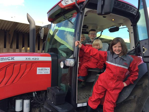 Enjoying the new tractor at Cliffe House Farm.