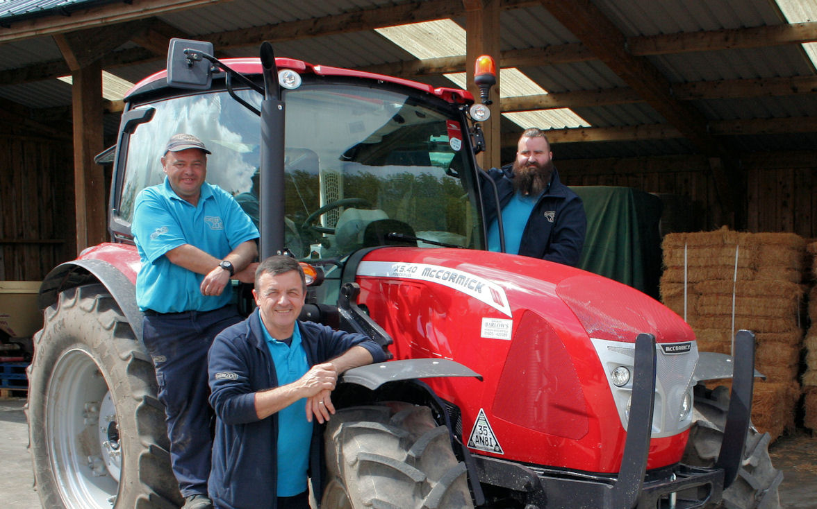 From left: Neil Lewis, Les Nicholson and Chris Barnes with the new McCormick X5.40 tractor.