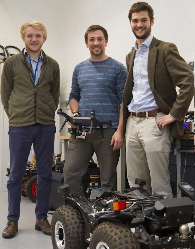 (L:R Martin Abell, Jonathan Gill, Kit Franklin) in one of the engineering laboratories at Harper Adams University