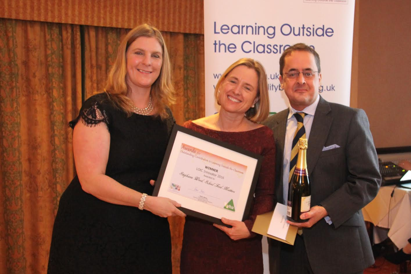 Elaine Skates, Stephanie Wood, Joe Lynch: Miss Wood is founder of School Food Matters