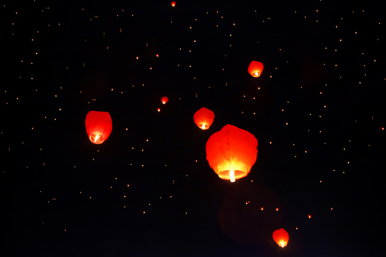Sky lanterns can be a major fire risk – once lit and set off into the sky you don