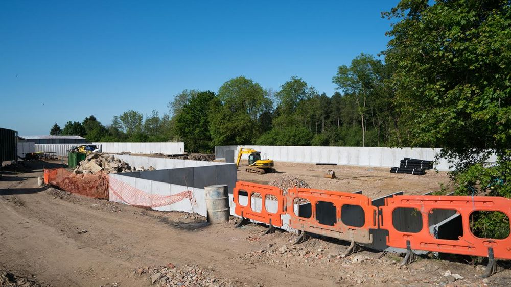Part of the new modular bund wall for Butler Services' new AD plant