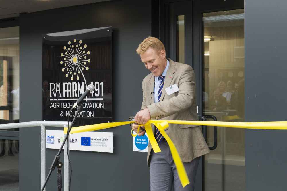 Adam Henson Cuting Ribbon at Manor Farm, Harnhill