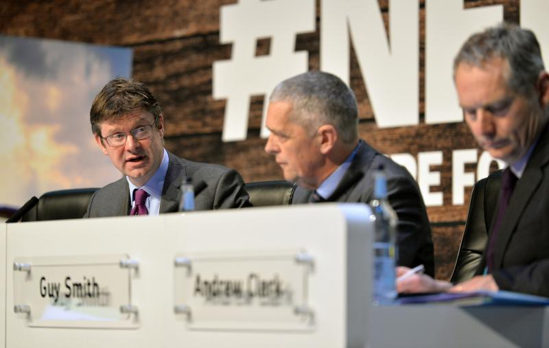 Gregg Clark MP (L) said new agricultural technology could help improve productivity (Photo: NFU)
