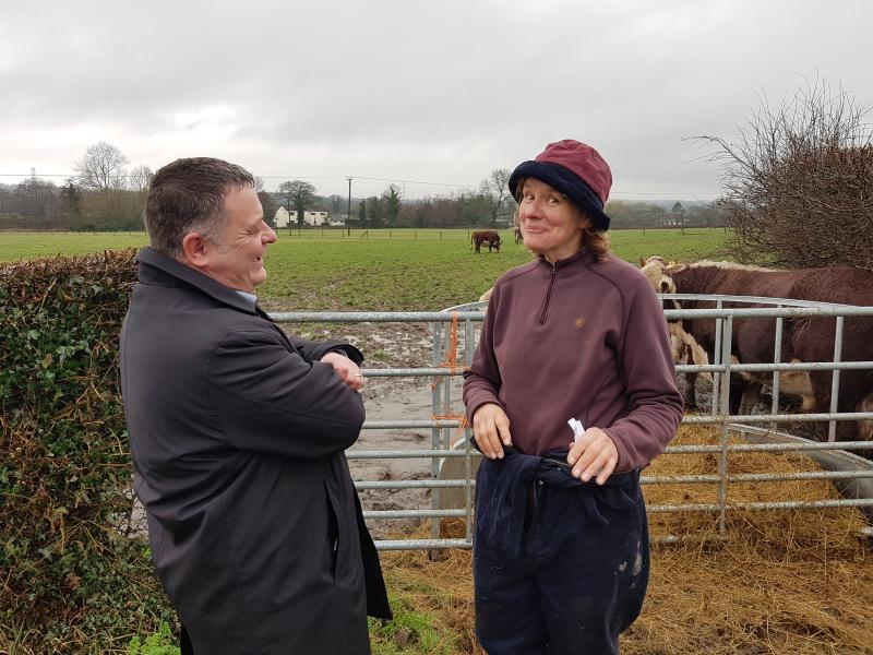 MP for Weaver Vale, Mike Amesbury with Cheshire farmer Alison Davies