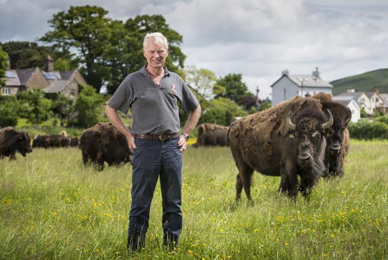 The appointment, which highlights the farm's sustainable beliefs, is a first for Wales (Photo: Lord Newborough with Bison herd)