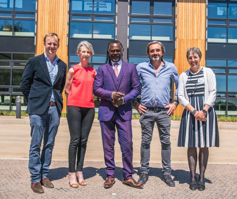 (L-R) Judges Charlie Beldam (Cotswold Gold), Christine Cross (independent consultant), Levi Roots (Reggae Reggae Sauce), Julian Dunkerton (Superdry), Prof Joanna Price (Vice-Chancellor RAU)