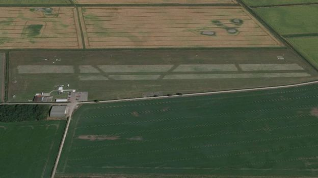 Local farmers used quad bikes to join in the search for the aircraft, which was due to land at Beverley Airfield (Photo: Google)