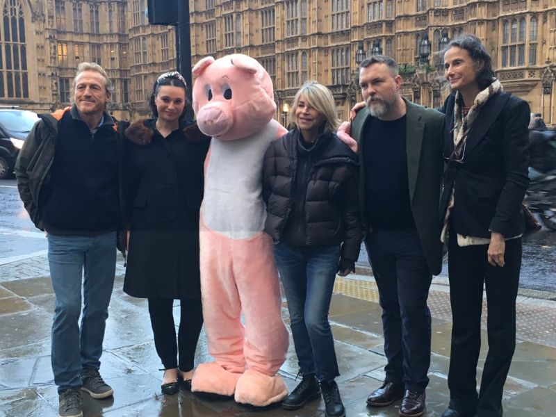 Jerome Flynn, far left, protested the proposed pig farm (Photo: FoE_NI/Twitter)