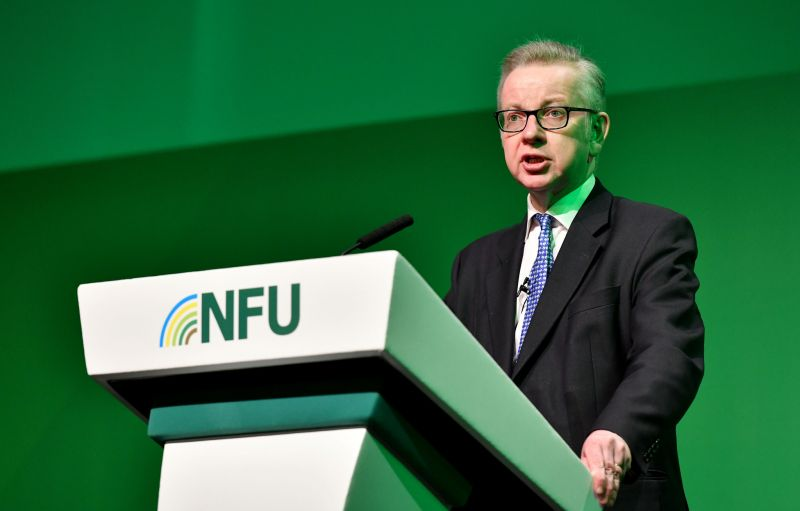 Michael Gove said UK agriculture would not be exposed to the threat of a zero tariff regime