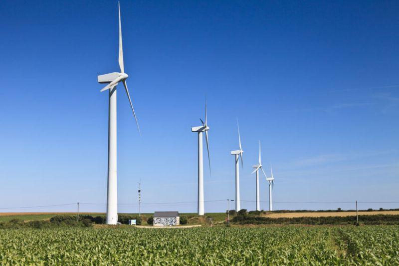 A wind turbine farm in the Brittany region, France