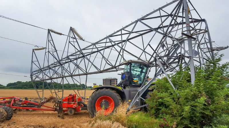The driver of the vehicle at Flawborough escaped unhurt when his tractor crashed into a pylon while using autosteer