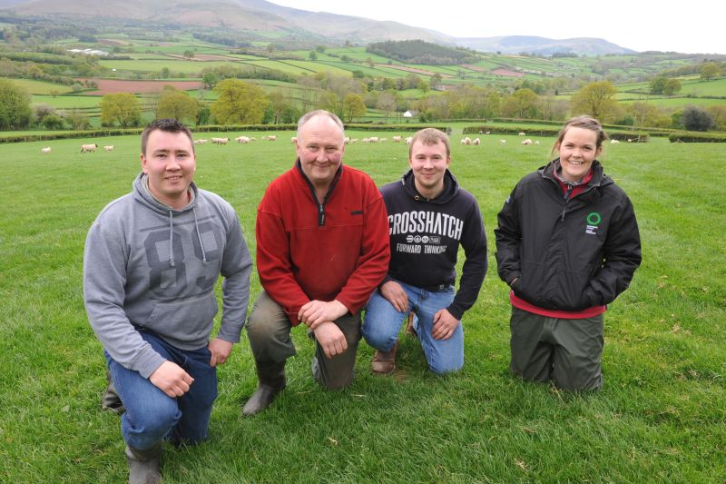 Lewis, Wynne and Dewi Rees with one Red Meat Technical Officer, Elan Davies at the 'Managing the Growing Lamb' event