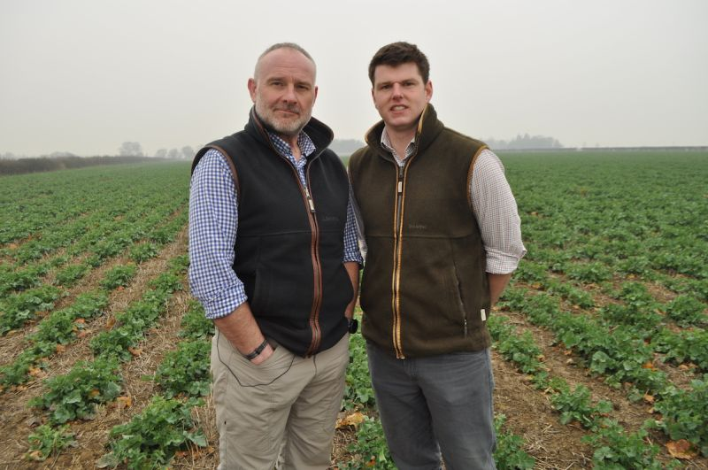 Agronomist Sean Sparling (L) with George Baxter, from Cambridgeshire Federation of Young Farmers' Clubs