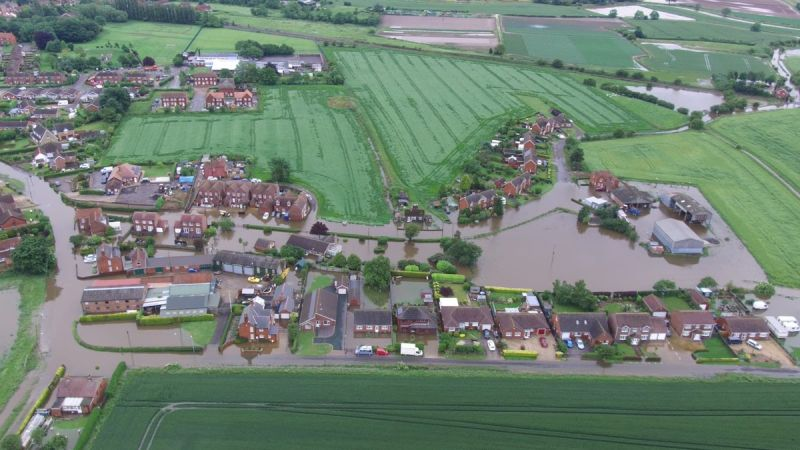 The town of Wainfleet was first flooded last week after double the average monthly rainfall in just three days (Photo: Lincolnshire Police Drones/Twitter)