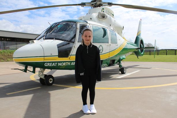 Alannah Maher paid a visit to the Great North Air Ambulance Service after recovery