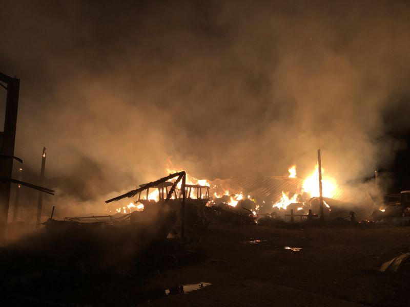 The fire destroyed two farm buildings, 100 tonnes of straw and claimed the lives of two ponies (Photo: Cambridgeshire Fire and Rescue)