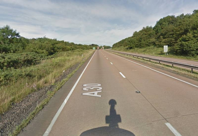 The farmer was caught speeding on the A30 in Devon (Photo: Google Maps)