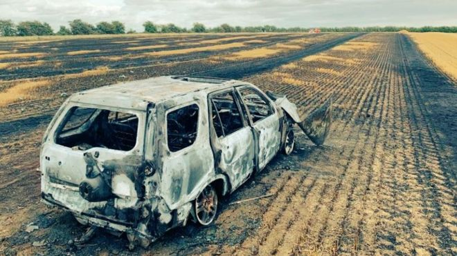 Suspected hare courses set a car alight on a farmer's field near Cambridge (Photo: Cambridgeshire Police)