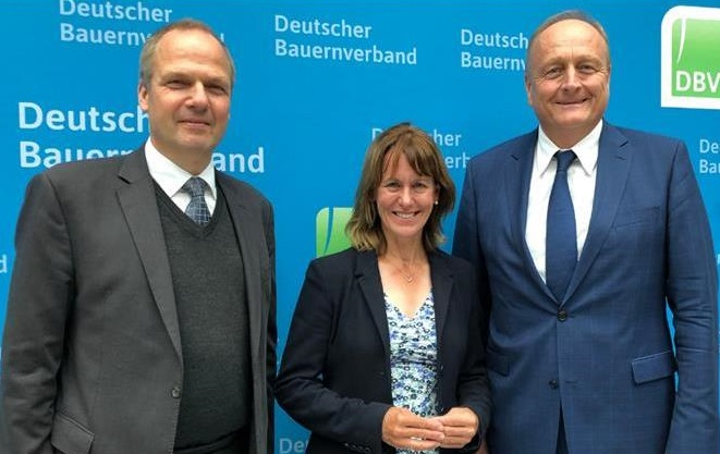 NFU president Minette Batters met with the German farming leader (R) to discuss future priorities