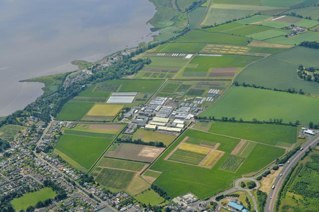 Aerial view of James Hutton Institute's Dundee site at Invergowrie