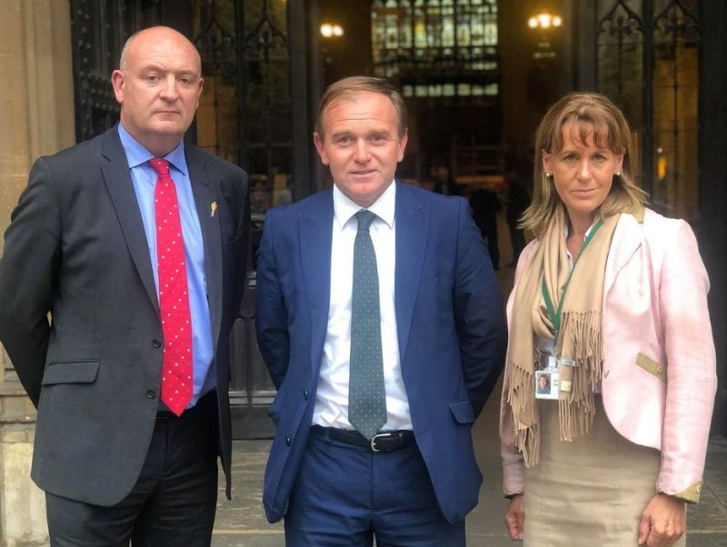 The beef crisis meeting was attended by George Eustice (centre), NFU's Minette Batters and NFU Cymru's John Davies