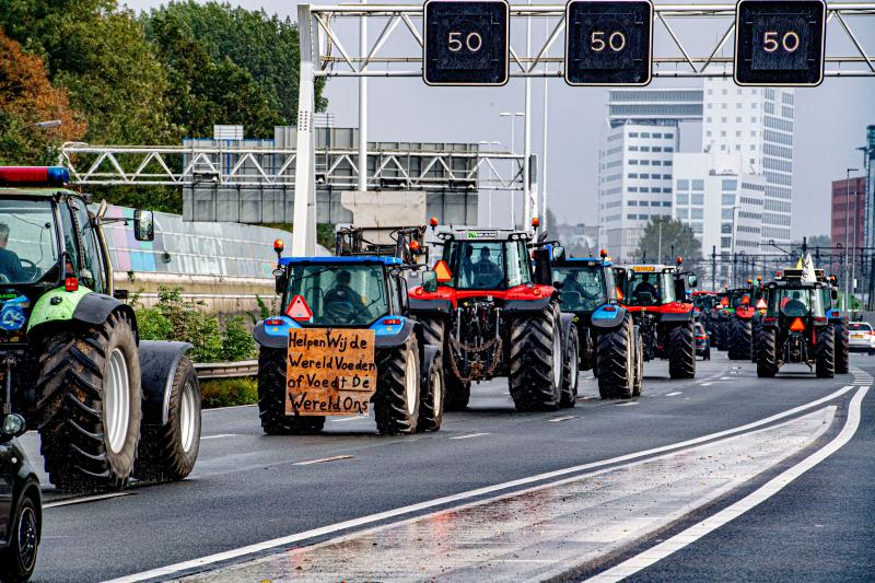 Thousands of farmers took to the road during a national day of protest in the Netherlands yesterday (Photo: Robin Utrecht/Shutterstock)
