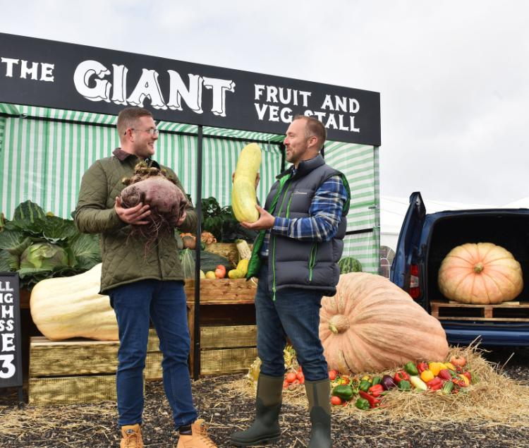 The stall showcases British-grown fruit and vegetables, from 4ft marrows to mammoth 3ft² pumpkins