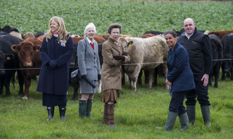 The Princess Royal visited the 100 hectare farm, which has a finishing cattle system with no housing, making use of high-quality grass and winter forage crops
