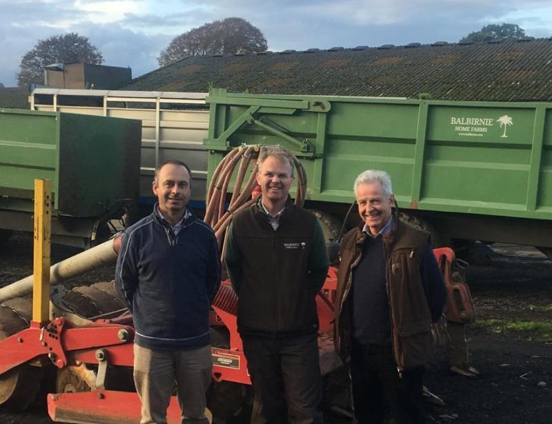 The 1165-hectare Balbirnie Home Farms at Freuchie, owned by the Balfour family, is managed by David Aglen (Pictured centre with Donald Ross, left and Andrew Moir, right)