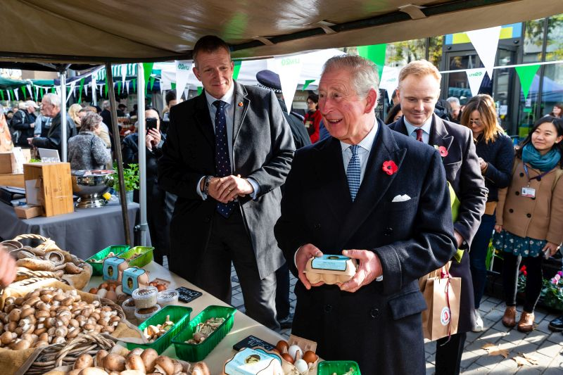Prince Charles received gifts including a carton of fresh British eggs
