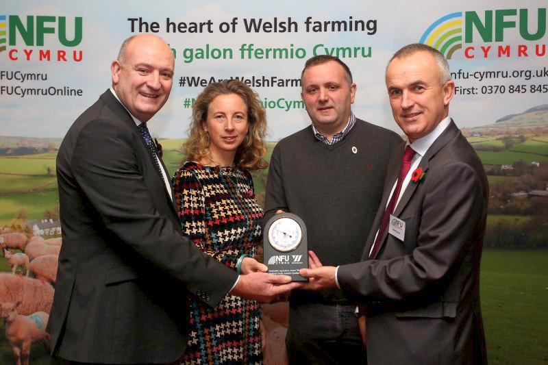 Jason Llewellin and family (centre) from St Ishmaels, Haverfordwest, have been announced as the winners of the inaugural Sustainable Agriculture Award
