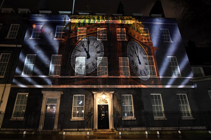 A projection on Number 10 Downing Street marks the moment Britain left the European Union (Photo: James Veysey/Shutterstock)