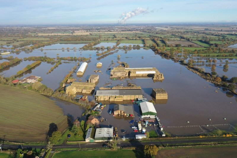 Large swathes of farmland in England were flooded for most of February